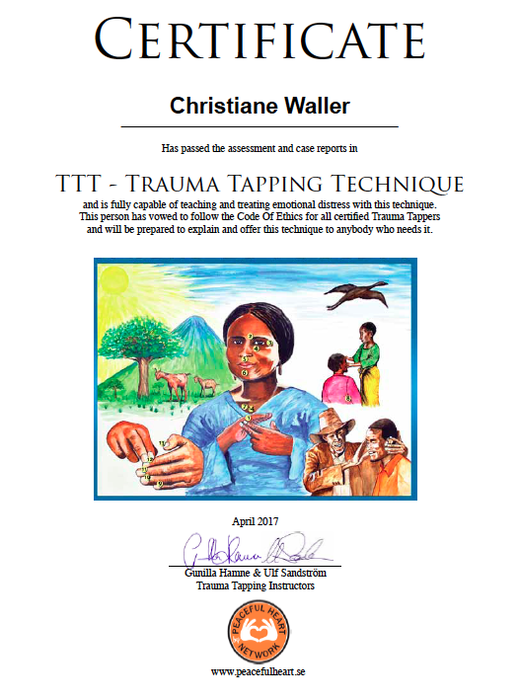 Certificate TTT Trauma Tapping Technique Christiane Waller - new-frame